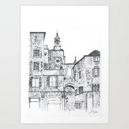 Stara Ura The Old Town Clock Art Print