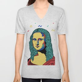 Mona Lisa - Gioconda by Leonardo da Vinci Unisex V-Neck