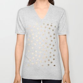 Simply Dots in White Gold Sands Unisex V-Neck