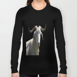 Portrait of a Horned Goat Grazing Vector Long Sleeve T-shirt