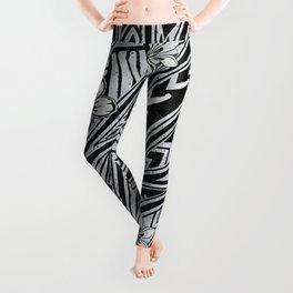 Vintage Hawaiian Tribal Floral Tattoo Tapa Print Leggings