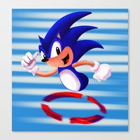 sonic youth Canvas Prints featuring Sonic by DROIDMONKEY