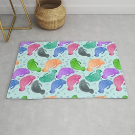 Colorful Happy Manatees  Rug