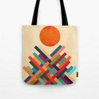 sun Tote Bags featuring Sun Shrine by Picomodi