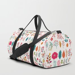 Colorful fall orange pink ivory holly berries floral Duffle Bag