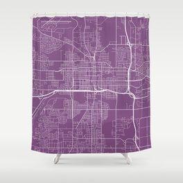 Lansing Map, USA - Purple Shower Curtain