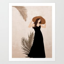 Woman in a black dress Art Print