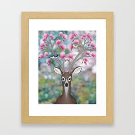 white tailed deer, black throated blue warblers, & magnolia blossoms Framed Art Print