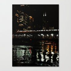 Chicago El and River at Night Canvas Print