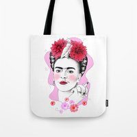 frida kahlo Tote Bags featuring Frida Kahlo by sarah illustration