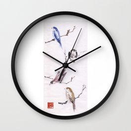 Sumi Bird Study Wall Clock