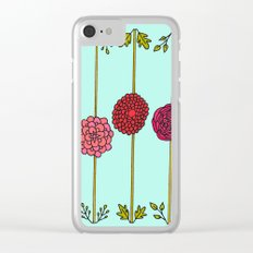 Garden Flowers Illustration - in Reds & Pinks Clear iPhone Case