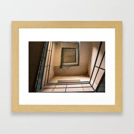 Bottom image of a staircase in an abandoned building Framed Art Print