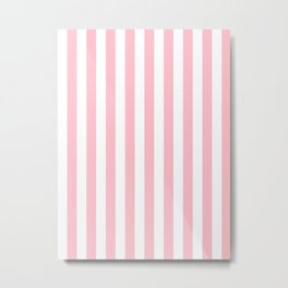 Narrow Vertical Stripes - White and Pink Metal Print