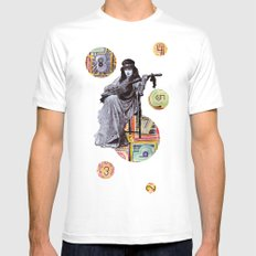 Guitarist in Time White Mens Fitted Tee MEDIUM