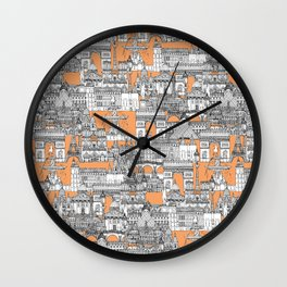 Paris toile cantaloupe Wall Clock