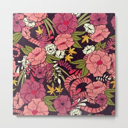 Pink Flowers Blossom Metal Print