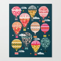 Hot Air Balloons - Retro, Vintage-inspired Print and Pattern by Andrea Lauren Canvas Print