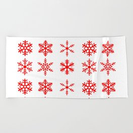 red snowflake seamless pattern Beach Towel