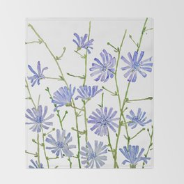 blue chicory watercolor Throw Blanket