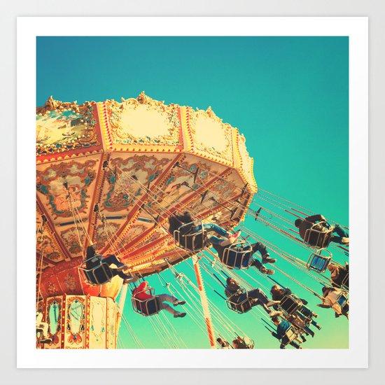 Sunny Carousel Days Art Print