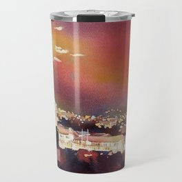 Fine art poured watercolor painting of colonial churches on the Plaza de Armas in Cusco Travel Mug