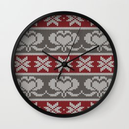 Ugly knitted Hearts Wall Clock