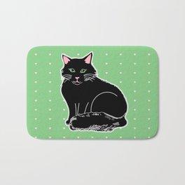 Black Fluffy Cat Pink & Green Bath Mat