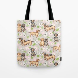 Dachshunds and dogwood blossoms Tote Bag