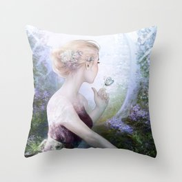 Princess in royal garden Throw Pillow