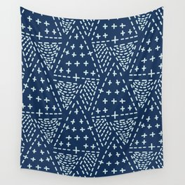 Indigo Blue Japanese Style Stitch Lines Hand Drawn Sashiko Wall Tapestry