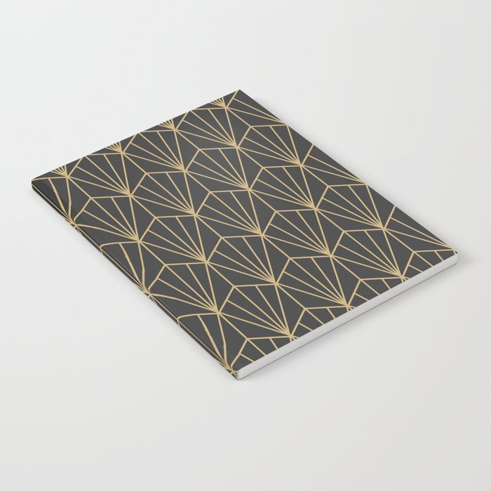 Art Deco Vector in Charcoal and Gold Notebook