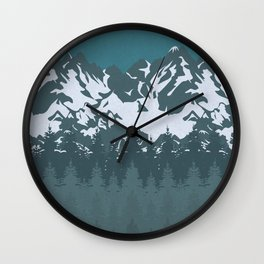 Trees and Mountains Wall Clock