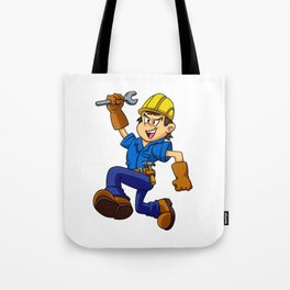 Running man with a wrench Tote Bag