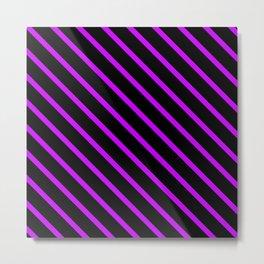 Neon Purple Diagonal Stripes (Black) Metal Print