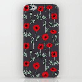 Red poppy flower pattern iPhone Skin