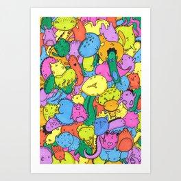 Animal Creatures Pattern Art Print