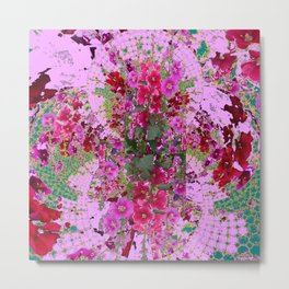 PINK HOLLYHOCK FLOWERS TEAL ABSTRACT GARDEN Metal Print