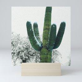 snow on saguaros Mini Art Print