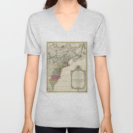 Colonial America Map by Matthaus Lotter (1776) Unisex V-Neck