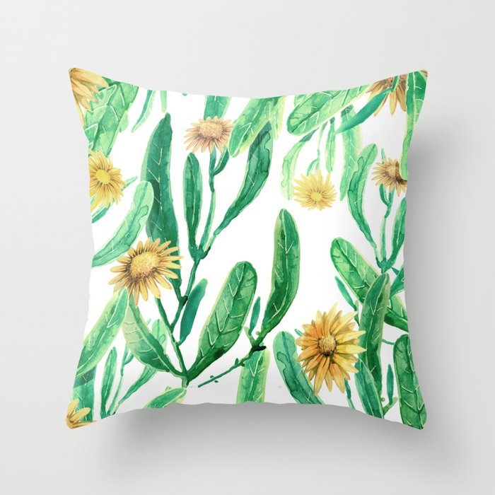 yellow flowers on sunny day Throw Pillow