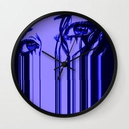 Sad anime aesthetic - blue sadness Wall Clock