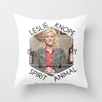 leslie knope Throw Pillows featuring Leslie Knope is My Spirit Animal by Dwell Beautiful