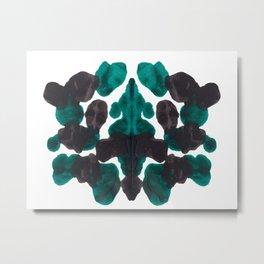 Dark Turquoise Green & Black Ink Blot Pattern Metal Print