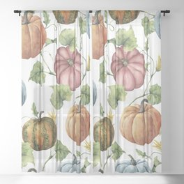 PUMPKINS WATERCOLOR Sheer Curtain