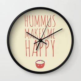 Hummus Makes Me Happy Wall Clock