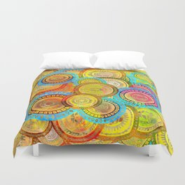 Colorful Circular Tribal  pattern with gold Duvet Cover