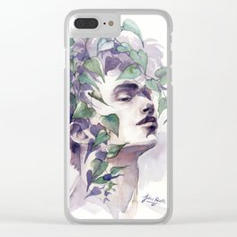 A man with ivy, watercolor portrait Clear iPhone Case