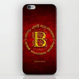 Joshua 24:15 - (Gold on Red) Monogram B iPhone Skin