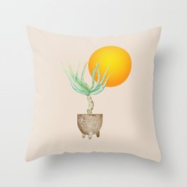 Hand Drawn Set, Bohemian Pot Of Aloe, sunshine, minimal potted plants, No 01 Throw Pillow